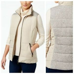 STYLE-amp-CO-CHIC-COOL-COMFORTABLE-MIXED-MEDIA-PUFFER-VEST-Sz-PP-NWT-70