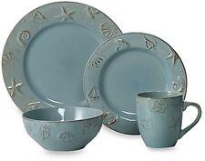 16-Pc Dinnerware Set Thomson blue Pottery Cape Cod Nautical Beach Microwave Safe