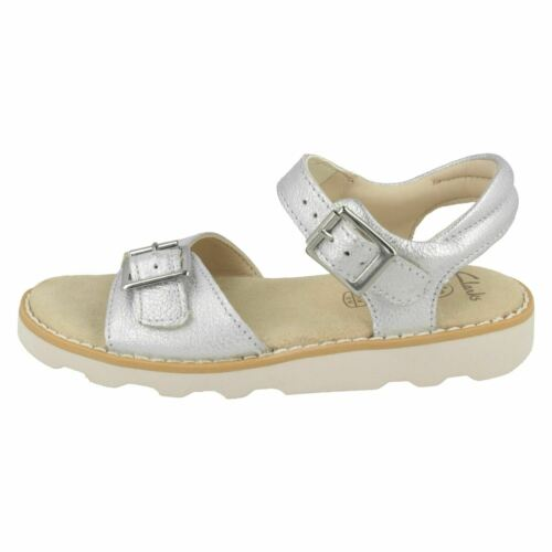 GIRLS CLARKS INFANTS LEATHER AIR SPRING FLAT SANDALS BEACH SHOES CROWN BLOOM