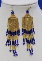 Beaded Fringe Earrings Native American Hand Made Bemidji Mn Dangle Drop Seed