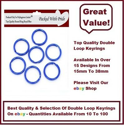 15mm ROYAL BLUE QUALITY ROUND SPLIT KEY RING DOUBLE LOOP CRAFT FINDINGS KEYRINGS