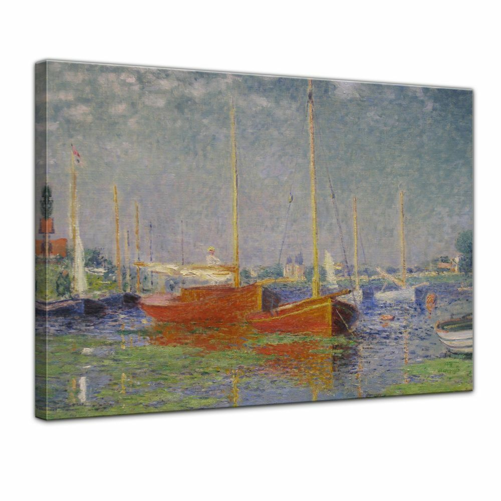Stampa D'ARTE-Maestri-Claude Monet-I ROSSI barche, argentoeuil