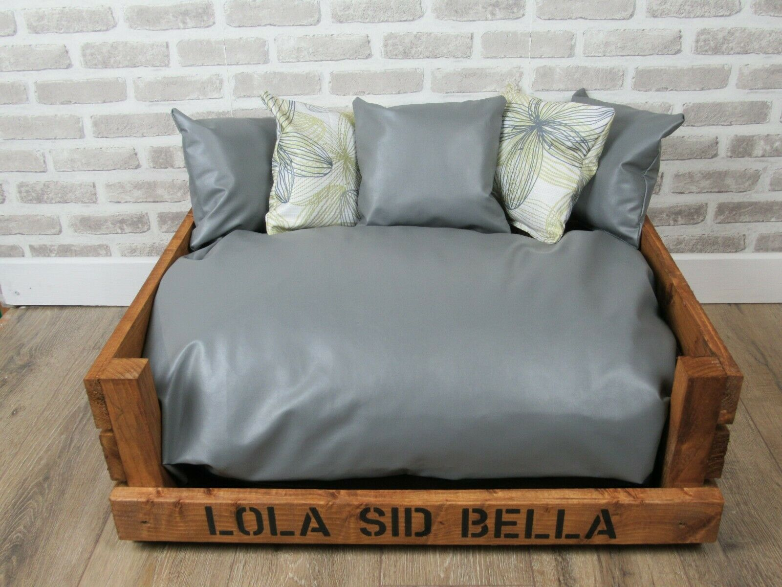 Large Personalised Rustic Wooden Dog Beds Complete With Faux Leather Cushions