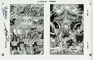 Crisis-on-Infinite-Earths-12-pgs-19-20-RARE-Production-Art-SIGNED-PEREZ-WOLFMAN