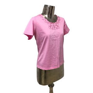 Emreco Pink Cotton T-Shirt Top UK Medium 12 EU40 NEW Women's RRP £20