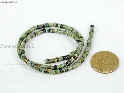 Natural African Turquoise Gemstone Heishi Loose Beads 16'' 2mm x 4mm 3mm x 6mm