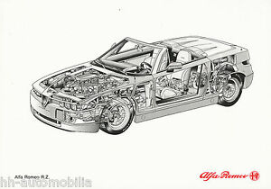 0248AL-Alfa-Romeo-RZ-Zagato-Bildprospekt-1992-Roentgenzeichnung-Prospekt