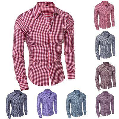 Generic Mens Plaid Long Sleeve Breathable Slim Button Down Dress Shirts