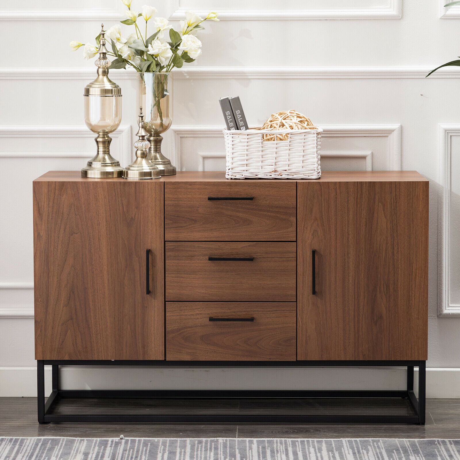 Picture of: Modern White Sideboard Storage Cabinet With Drawers Kitchen Console 2 Doors For Sale Online Ebay