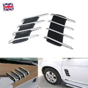 2PCS-UNIVERSAL-CHROME-CAR-BONNET-AIR-INTAKE-FLOW-SIDE-FENDER-VENT-HOOD