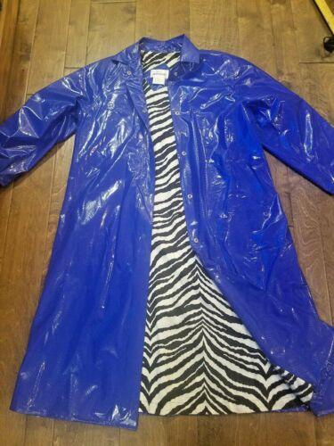 Vtg Wippette Blue PVC Vinyl Snake pattern Raincoat