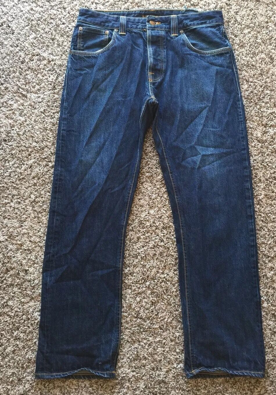 Nudie Easy Emil Jean  Denim Dark bluee Jean No NJ373 Size 33X29 Made In