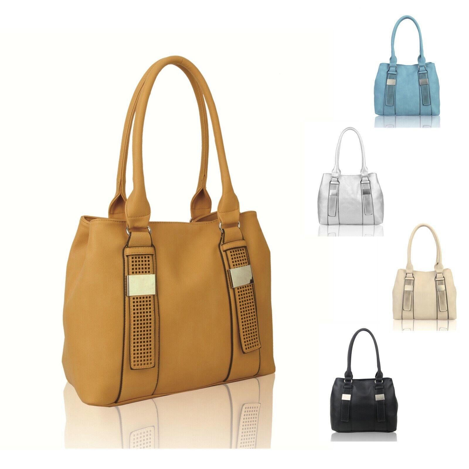 Woman Lady Synthetic Leather Medium Belt-deco Tote Commuting Shoulder Handbag