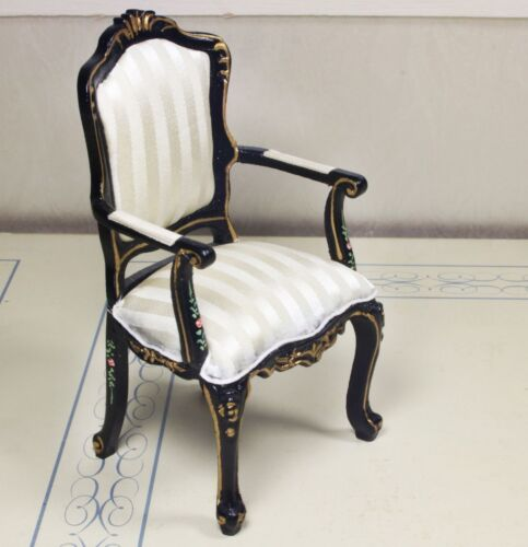 """Black Desk Chair MUSEUM QUALITY DOLLHOUSE FURNITURE 1//12 or 1/"""" Scale BESPAQ"""
