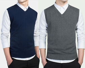 Mens-100-Cotton-Knitted-Vest-V-Neck-Sweater-Sleeveless-Pullover-Top-Waistcoa