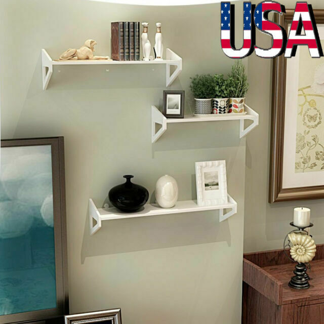 Set of 3 Floating Display Shelves Bookshelf Wall Mount Shelf Storage Home Decor