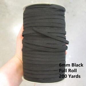 6MM BLACK  * FULL ROLL* 200 YARDS FLAT ELASTIC STRETCH MASK CHRISTMAS DECOR UK