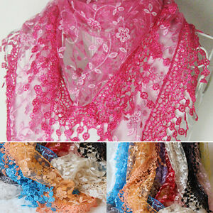 Women-Tassel-Lace-Floral-Knit-Hollow-Mantilla-Scarf-Shawl-Wrap-Seraphic