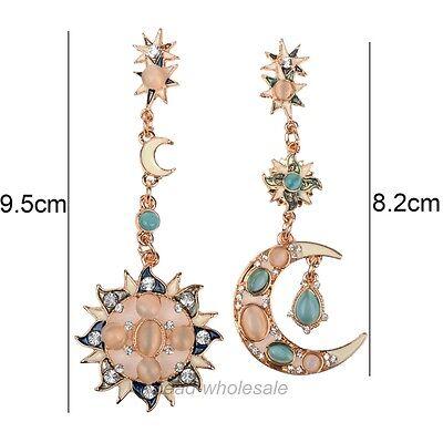 Bling Star Sun Moon Crystal Rhinestone Stud Dangle Pretty Funky Gold Earrings