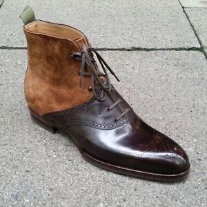 Men-039-s-Latest-Italian-Structure-Suede-amp-Leather-Boots-bottes-de-luxe-pour-hommes