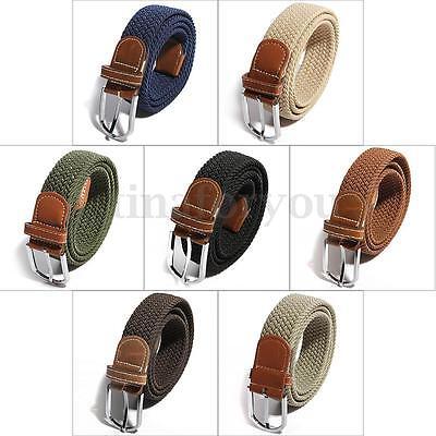Men Women Unisex Elastic Stretch Woven Canvas Leather Pin Buckle Waist Belt Hot