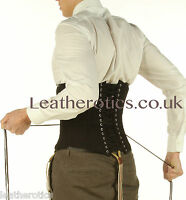 Black Cotton Corset For Men Tight Lacing Steel Boned Top Back Support 1214mc