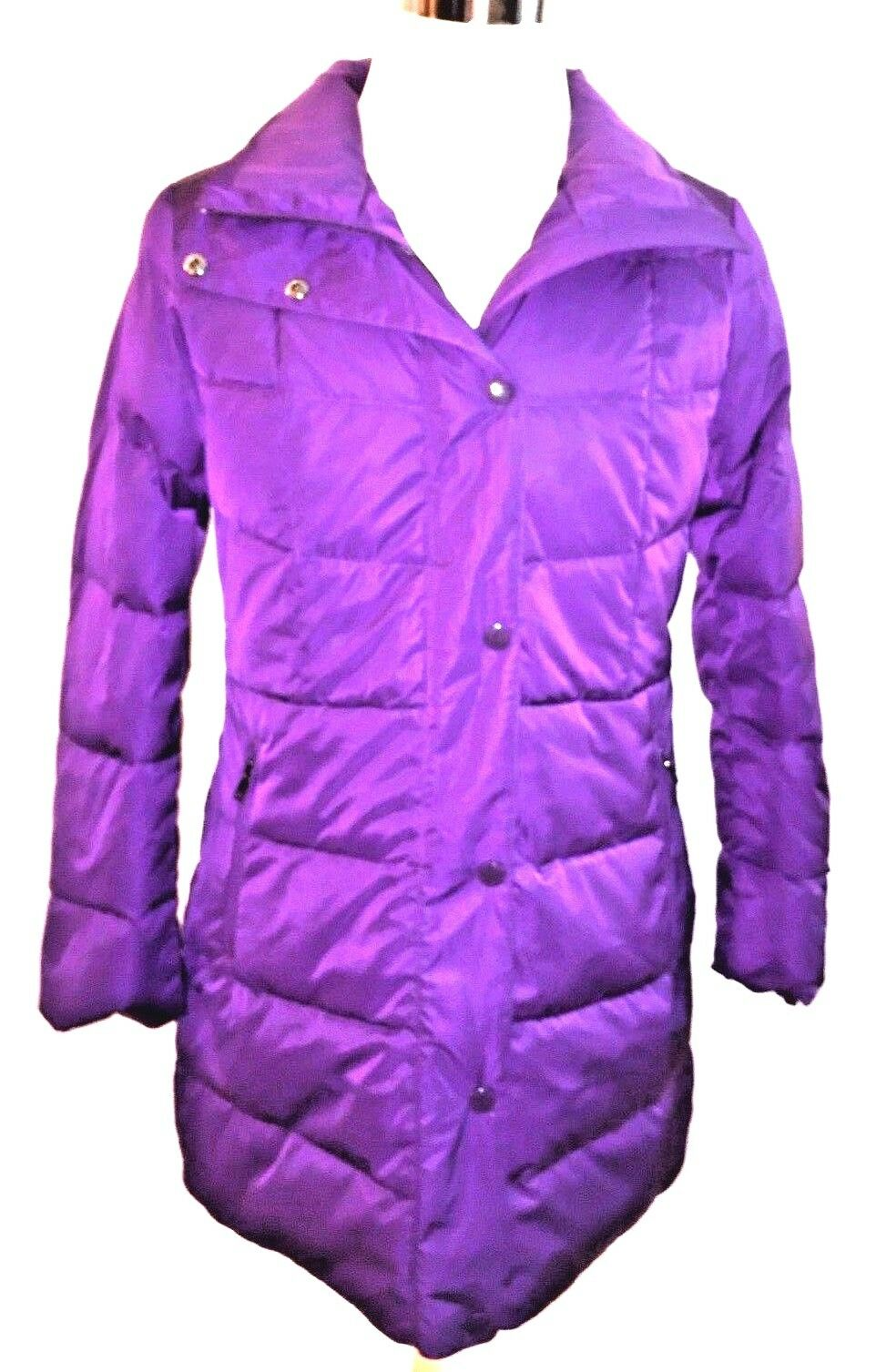 Lands' End Women's Long Refined Down Purple Coat Size Small 6-8 New with Tags