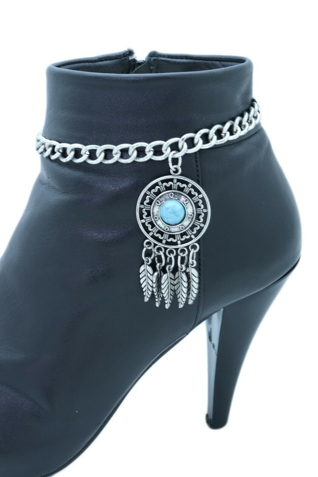 Women Silver Metal Chain Boot Bracelet Shoe Feather Vintage Charm Turquoise Blue