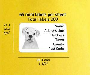 boxer white 260 personalised dog mini address labels stickers ebay