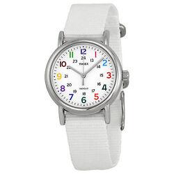 Timex T2N837 Weekender Mid Size Slip Thru White Nylon Womens Watch