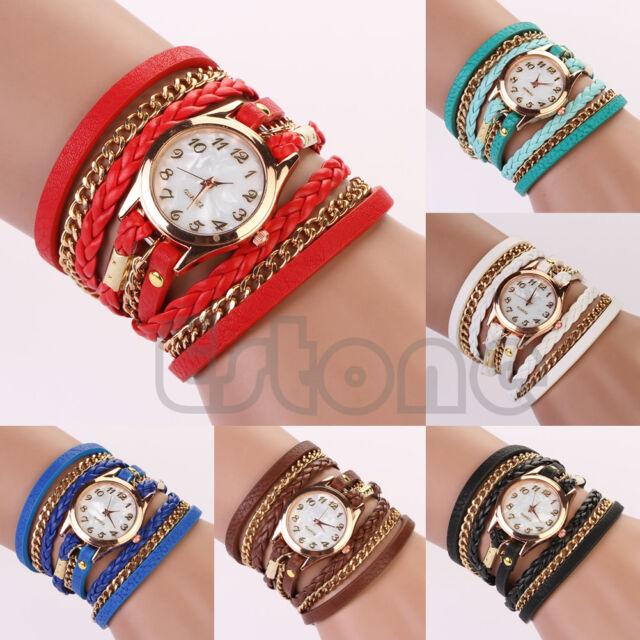 Fashion Women Girl Rhinestone Faux Leather Sling Chain Quartz Wrist Watch