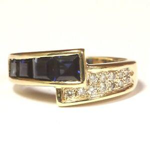 14k-yellow-gold-12ct-VS1-G-diamond-sapphire-band-ring-4-8g-estate-vintage