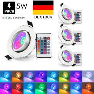 4-RGB-Farbwechsel-LED-Einbaustrahler-Einbauleuchte-5W-Deckenleuchte-Lampe-Licht