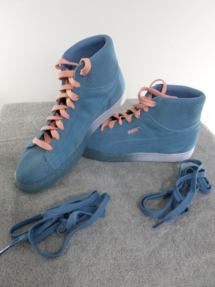 Puma Pink Dolphin homme US 9, EUR 42 Suede Mid Classic Bleu and Pink NEW