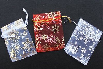 10 xWHITE Silver snowflake Organza Gift Bags small7x9cm  jewellery favours uk