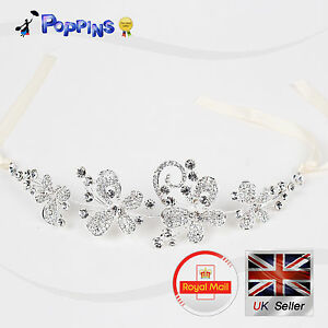 Wedding Party Bridal Bridesmaid Headband Tiara Crystal Diamante Flower Pearl