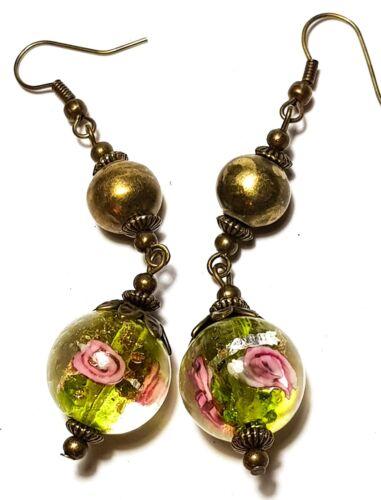 Green Earrings Antique Bronze Style Pierced Hook Glass Bead Dangle Boho Hippy