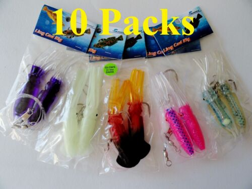 "5,10,20 Packs 4.5/"" Ling Cod Squid Rigs Two Bulb Squid Rockfish Lure Select Packs"