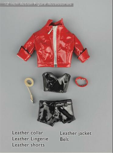 "1//6 female Punk leather jacket pant set for Hot toys Phicen 12/"" figure ❶USA❶"