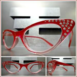 6267d99593d Details about VINTAGE RETRO CAT EYE Style READING EYE GLASSES READERS Bling  Red   Pink Frame