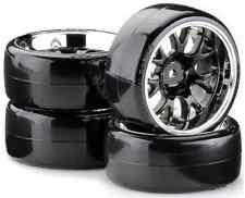 1/10th BLACK / CHR RC CAR DRIFT WHEEL TYRE SET 12mm TAMIYA HEX DEEP DISH ABSIMA