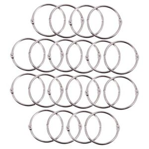 50 Pcs Staple Book Binder 20mm Outer Diameter Loose Leaf Ring Keychain MF