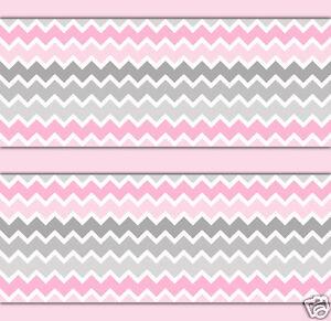 Pink Grey Gray Ombre Chevron Wallpaper Border Wall Art Decals Baby Girl Nursery