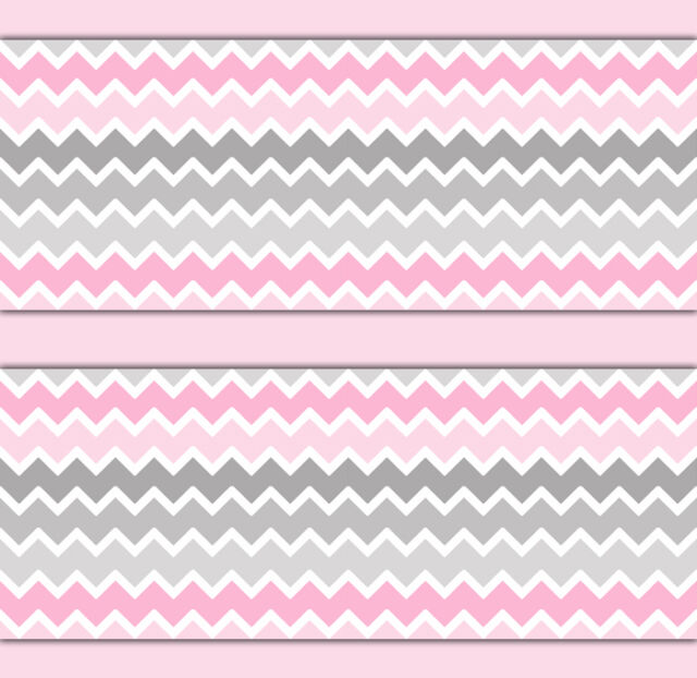 Pink Grey Gray Ombre Chevron Wallpaper Border Wall Art Decals Baby Girl Nursery
