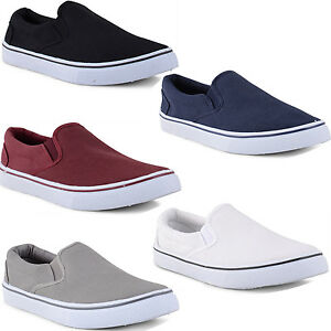 Mens-Canvas-Slip-On-Casual-Plimsolls-Loafers-Pumps-Deck-Boat-Shoes-Size-UK-7-12