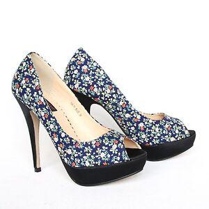 Rockabilly Style High Heels 37 Blau Stilettos Pumps Sandaletten Peeptoes 526-11.