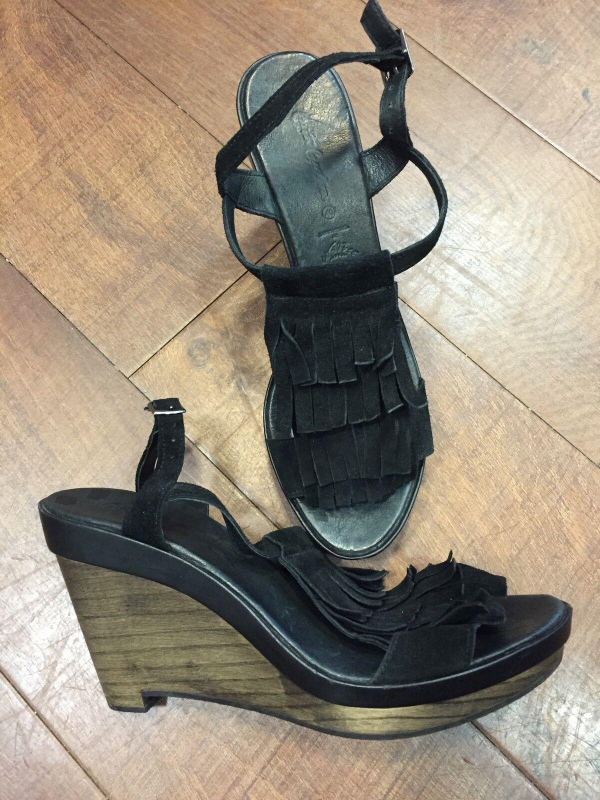 Cute Couture Schuhe, Sandalen, Wedges, Plateau, NEU, Fransen, Gr. 40, Leder