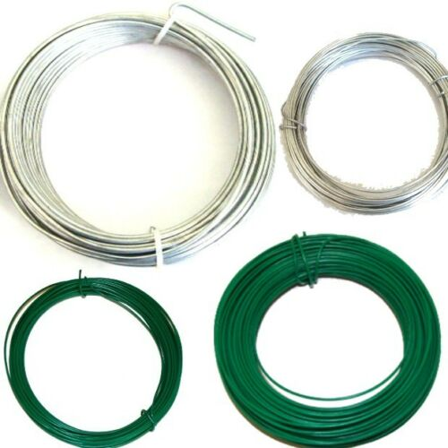 Garden Wire Heavy Duty Fencing Wire Green PVC// Galvanised  Size Choice 1//2//3//mm