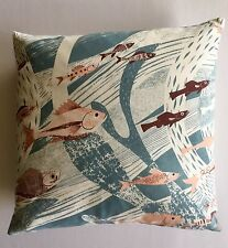 "St Jude's Deep Sea - Cushion Cover 16"" x 16"" - Coral/Storm Blue"