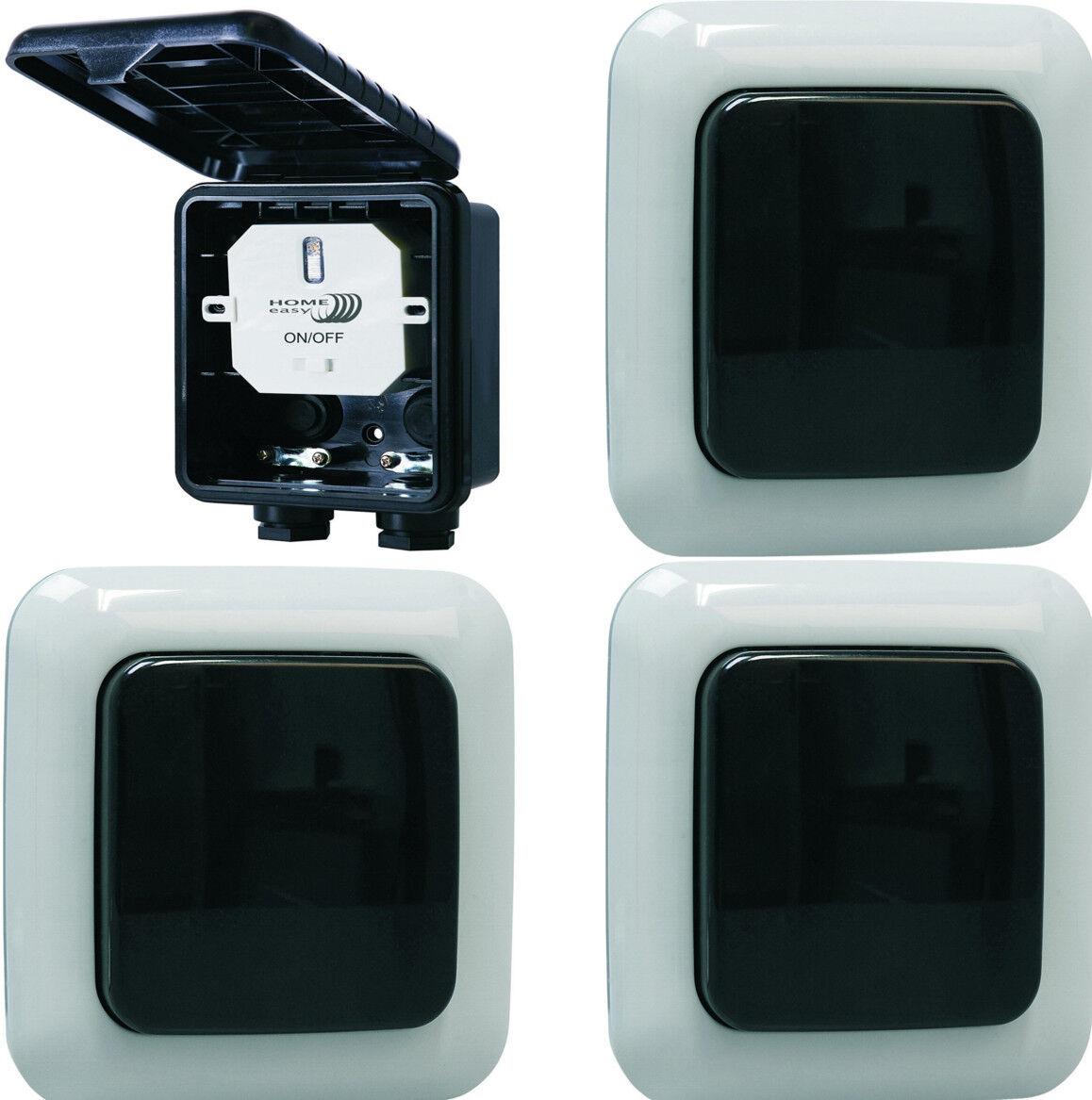 Home Easy Funk-Schalter-Set Einbauschalter 1000W mit 3 Wandschalter outdoor outdoor outdoor IP44 | Quality First  03515e